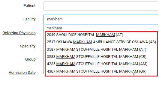 Hospital facility codes for OHIP medical billing